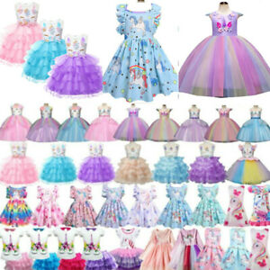 Mädchen Einhorn Partykleid Prinzessin Tüll Tutu Kleid Kinder Abend Ballkleider