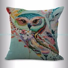 US SELLER, decorative pillows for living room colorful animal owl cushion cover
