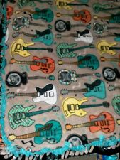 "Fleece Handmade Soft Tie Blanket Throw Approx 60"" X 60"" Rock and Roll Guitars"