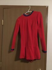 Long Sleeve Skirted Ice Figure Skating Dress Small Red