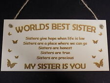"""""""Worlds Best Sister - My Sister Is You"""" Plaque Love Sign Present Gift Plaque"""