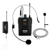 Pyle PDWMU112 UHF Wireless Microphone System Kit - LED Digital Display Screens