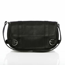 Ann Taylor Brown Leather Short Strap Purse Bag With Buckle Accents
