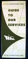 """ROYAL INTEROCEAN LINES -- 1962 Brochure """"Guide to Our Services"""" -- World Routes"""