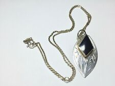 Vintage Sterling Black Onyx Necklace Marquise cut Onyx Set In Oval Pendent