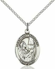 "St. Mary Magdalene Pendant St. 18"" Stainless Steel Lite Curb Chain"