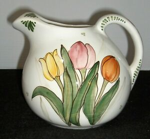 Delft Pottery Hand Painted Tulip Pitcher Holland USA
