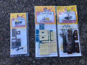 Kestrel N gauge plastic kits, Level crossing gates and cottage, Water Tower, Hut