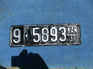 Vintage Original 1937 Kansas License Tag 9-5893 Wall Hanger Man Cave Reissue