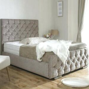 Diamante/ Button Fabric Chenille Bed Frame in 3ft,4ft,4ft6, 5ft - All Colours