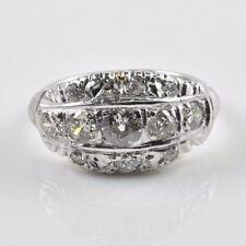 Antique VintageWhite Gold Old Miner Old European Single Cut Diamonds Ring Size 7