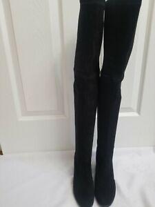 NWOB STUART WEITZMAN  GENNA Sz 5 Over The Knee Boots Black Suede Made In Spain