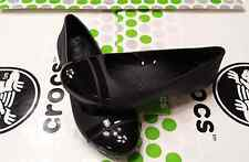 CROCS CAP TOE GIANNA ALICE MARY JANE BALLET FLAT SHOE SANDAL~Black~W 7~NWT