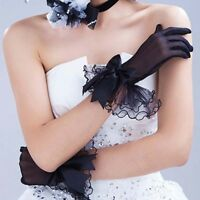 Womens Bridal Wedding Prom Lace Finger Short Gloves Evening Party Black White G