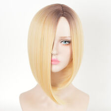 Women Blonde Wig Short Straight Bob Style Hair Dark Root Ombre Synthetic Wigs