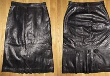 Vtg BERMANS Black Leather Long Skirt Big HAIR 80s Rock N Roll Heavy Metal Sz 10