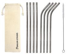 8 Argent Réutilisable (4 Bent & 4 Droite) métal paille en acier inoxydable