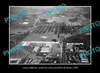 OLD POSTCARD SIZE PHOTO AZUSA CALIFORNIA, AERIAL VIEW OF DRIVE IN THEATER c1963