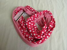 """Tickled Pink"" Red and White Infinity Scarf; Polka Dot and Stripe Pattern"