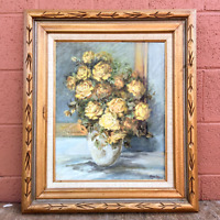 Vintage Painting Oil On Canvas Original Lindy Daly 1974 Still Life Yellow Roses
