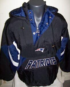 NEW ENGLAND PATRIOTS Starter Hooded Half Zip Pullover Jacket S M  BLACK