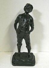 Antique Whistling Boy Statue Figure Hot Cast Sculpture Art Metalware Mid Century