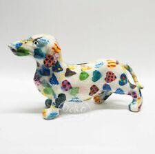 POMME PIDOU - exklusive Spardose - Keramikfigur DACKEL FRANKIE weiss / Herzen
