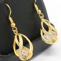 Sparkling Drop/Dangle Earrings Women Wedding Jewelry 14K Yell Gold Plated