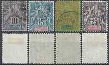Colony Guadeloupe # 31 32 33 34-stamp obliteration has date-cote 17 €