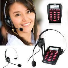LCD Display Office Telephone With Corded Headset Call Center Phone Dial Key Pad