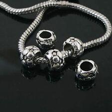 6pcs Tibetan Silver football spacer Beads Fit European charm  Bracelet  L0090