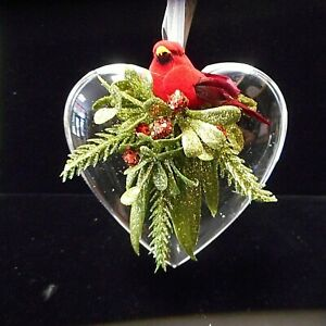NEW Kissing Krystals Hanging Classic Heart with Cardinal by Ganz