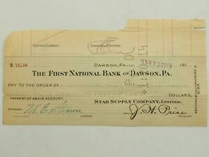 The First National Bank of Dawson, PA ,Bank Business Check 1914