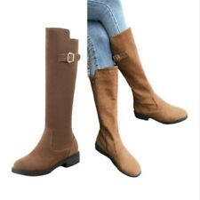 Women's Pumps Zip Up Round Toe Outdoor Low Heel Mid Calf Riding Boot 43 44 45 D
