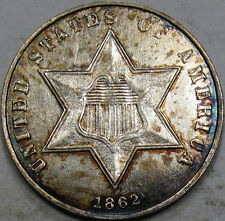 1862 Three Cent Silver Piece Nice Unc. Coin, Flashy with Nice Rim Toning, Pretty