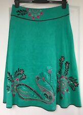 """""""Monsoon"""" Linen/Silk Mix Skirt, Size 12, Green, Embellished, Lined, Exc Cond"""