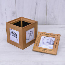Personalised Engraved Daddy Love You Moon & Back Oak Photo Cube Album