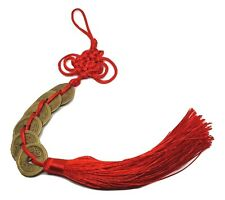 Feng Shui Lucky Red Tassel 6 x Coins Chinese Hanging Charm Health Wealth Temple