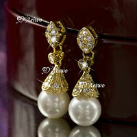 18K YELLOW GOLD GF MADE WITH CLEAR SWAROVSKI CRYSTAL PEARL STUD EARRINGS