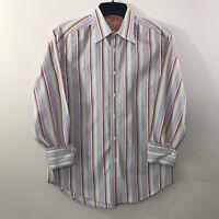 Robert Graham Mens Pink Yellow Striped Button Down Flip Cuff Dress Shirt Size M
