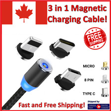 3 in 1 Magnetic USB Type C Lighting Charger Charging Cable for Phone iPhone