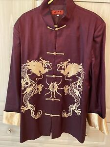 """Chinese Silk Shirt - Size XL (Chest 46"""") With Toggle Fastenings/ NEW!"""