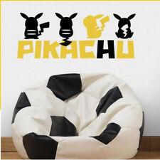 Pokemon Pikachu Silhouette wall stickers 5 peel & stick Nintendo decals bedroom