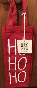 Novogratz Canvas Wine Gift Bag Red White HOHOHO Brand New