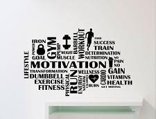 Gym Motivational Words Wall Vinyl Decal Fitness Sport Sticker Decor Mural 103gy
