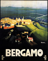 POSTER BERGAMO LOMBARDY BIRD'S EYE VIEW ITALY TRAVEL VINTAGE REPRO FREE S/H