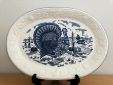 LARGE VINTAGE BLUE &WHITE THANKSGIVING TURKEY OVAL SERVING PLATTER MADE IN JAPAN