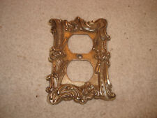 Vintage Double Metal Plug Outlet Cover Plate