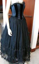 EXQUISITE ESCADA STRAPLESS BLACK LAYERED TULLE VELVET EVENING BALL GOWN DRESS 38