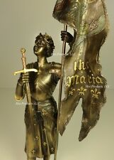 ROMAN CATHOLIC SAINT JOAN OF ARC Standing W/ Flag Sculpture Statue Bronze Finish
